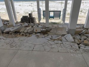 Breakaway concrete at the Sand Palace crumbled during the storm surge