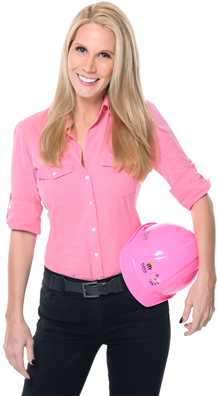 Elizabeth Hart posing with a pink hard hat